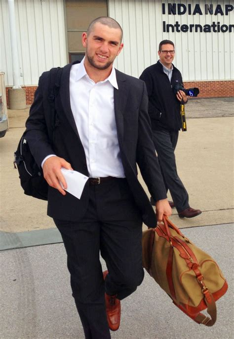 where is andy on indy style newly shaven colts qb andrew luck boards the plane to