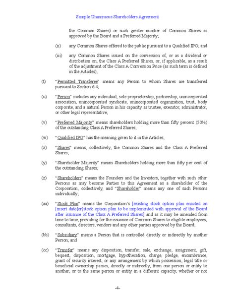 free shareholder agreement template sle unanimous shareholder agreement free