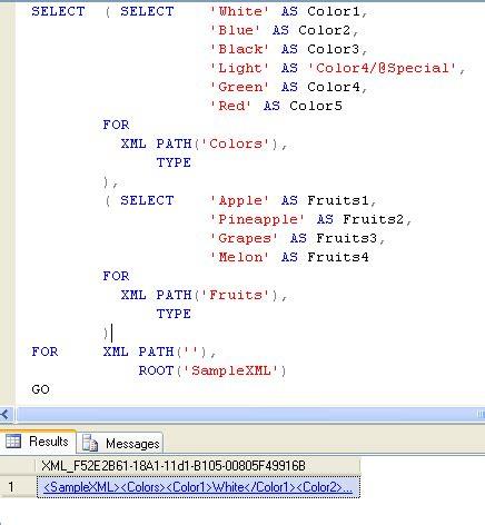 sql xml query tutorial sql server simple exle of creating xml file using t