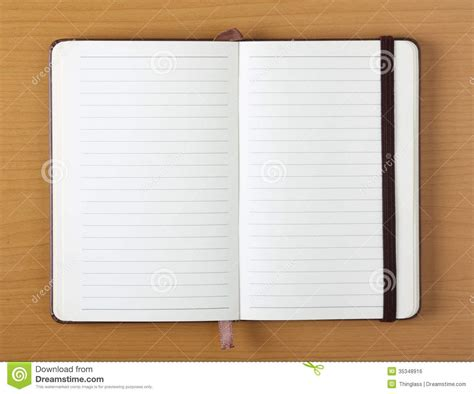 design journal blank open notebook on wood background royalty free stock image