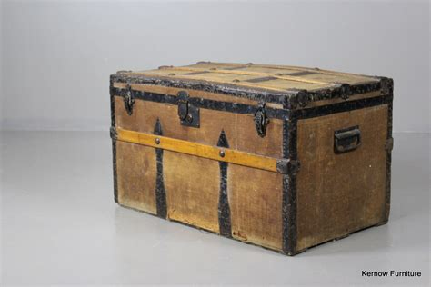 vintage antique slatted steamer cabin travel trunk coffee