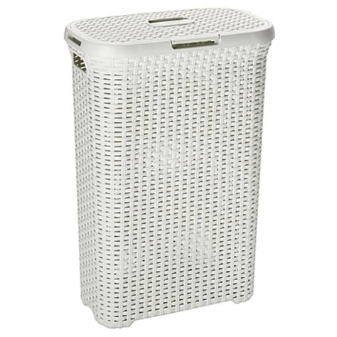 Curver Rattan Effect Laundry Her Vintage White Curver Laundry