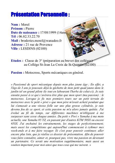 Exemple De Lettre De Presentation Personnelle Sponsoring Morel 17 2014 Motocross