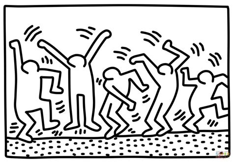 dancing figures by keith haring coloring page free