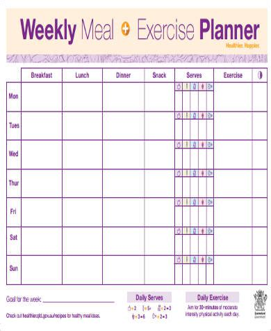 free printable meal and exercise planner free printable weekly planner sle 7 exles in word