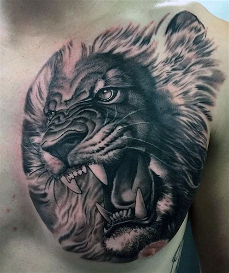 lion roaring tattoo 70 chest designs for fierce animal ink ideas
