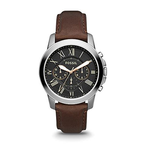 Fossil Fs4813 Leather Brown Silver Black Incld Box D 45 Mm fossil s fs4813 grant stainless steel with brown leather band buy in uae