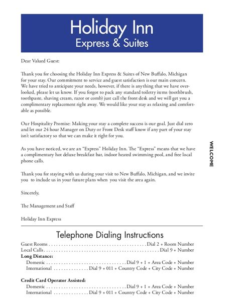 Thank You Letter Hotel To Guest new buffalo mi inn express guest services directories