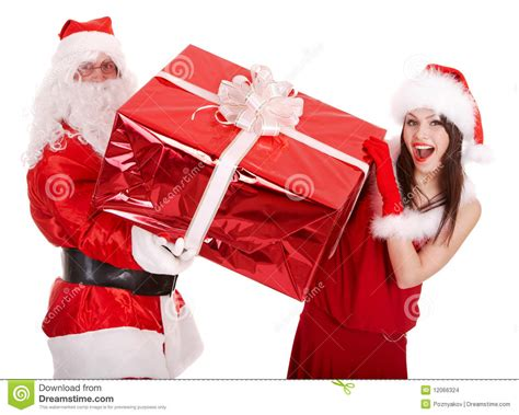 santa claus and christmas girl with big gift box stock