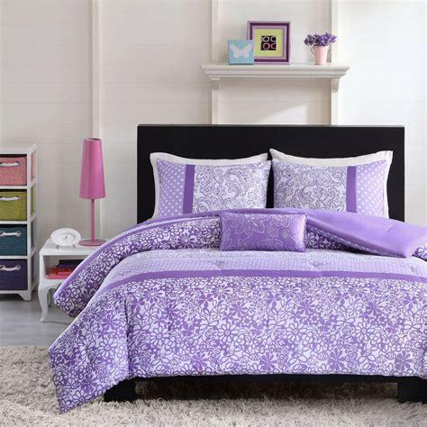 beautiful modern purple lavender floral polka dot girls comforter set pillow ebay