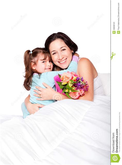 Toddle Bed Child Gives Flowers To Mother In Bed Stock Image Image