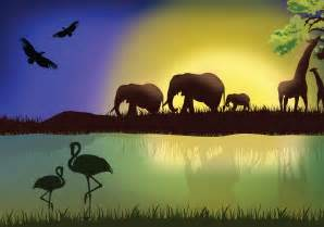 Landscape Pictures With Animals Landscape With Animals Free Vector