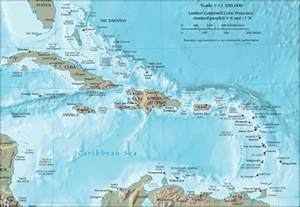 cia map of the caribbean a crescent shaped of