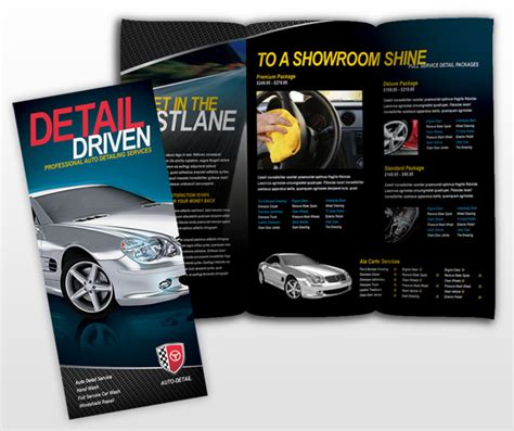 car brochure template car auto detailing services business tri fold brochure