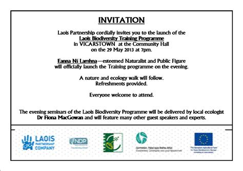 Laois Partnership 187 Launch Of Laois Community Biodiversity Training Programme In Vicarstown With Course Launch Template