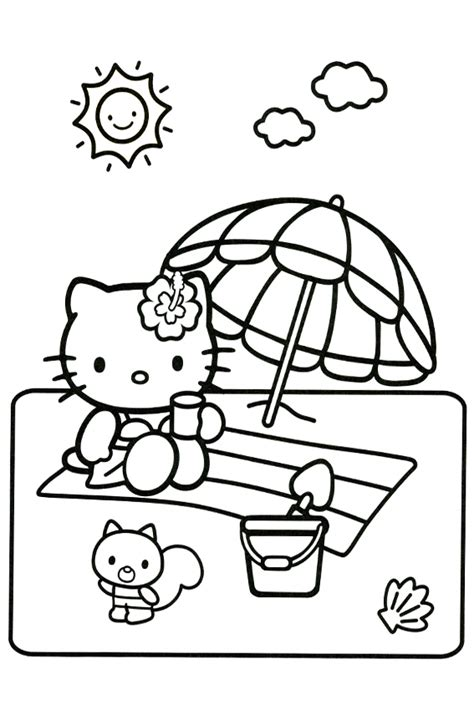hello kitty beach coloring page free beach sun fun coloring pages