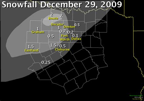 texas snowfall map nws ft worth