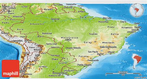 brazil physical map physical panoramic map of brazil