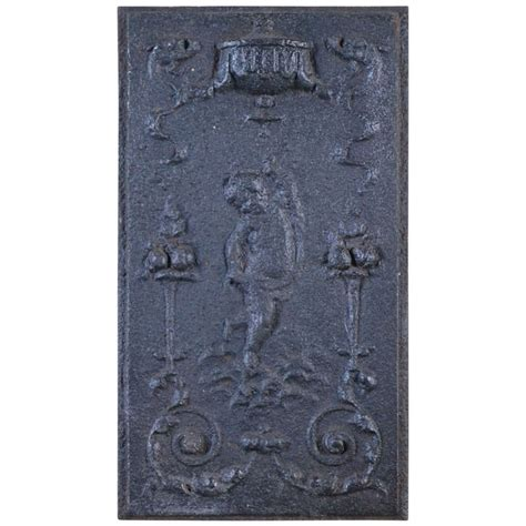 Cast Iron Fireplace Panels by Small 17th Or 18th Century Cast Iron Back Or Hearth
