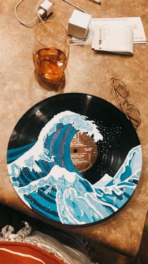 wave vinyl record painted vinyl record art