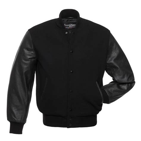 Jacket Black by Black Wool And Black Leather Letterman Jacket C112