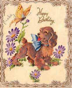 Free vintage happy birthday greeting with puppy
