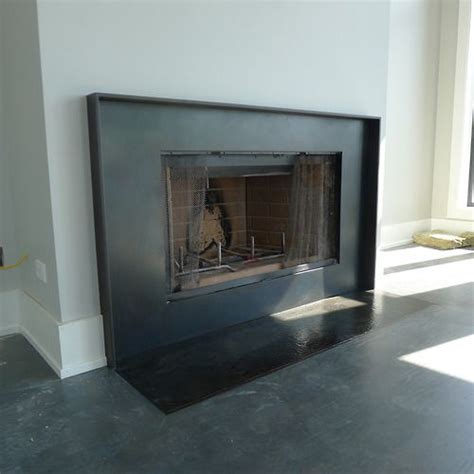 steel fireplace surround residential interiors