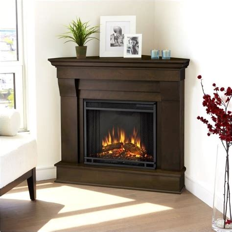 chateau electric corner fireplace in espresso finish 5950e e