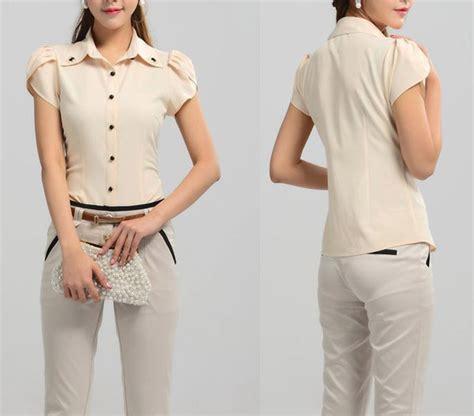 Five Cut Blouse formal blouse cut leopard trim blouse