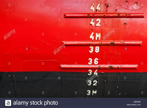 ship draft ship hull with waterline and draft scale measure stock