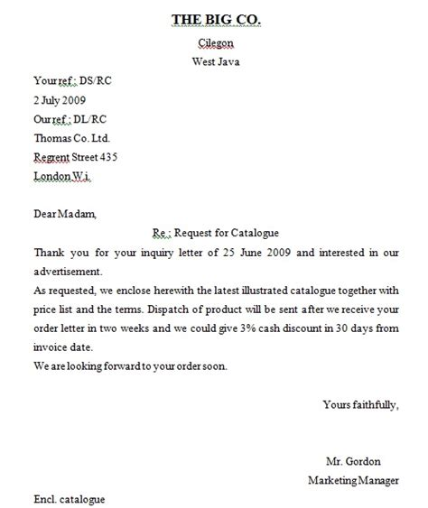 Business Letter Exle Inquiry Inquiry Letter And Order Letter Hendri Purwanto