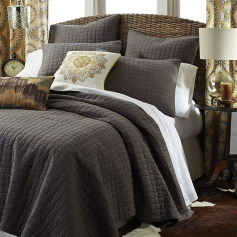 charcoal gray coverlet gray weston quilt sham charcoal cotton bedding