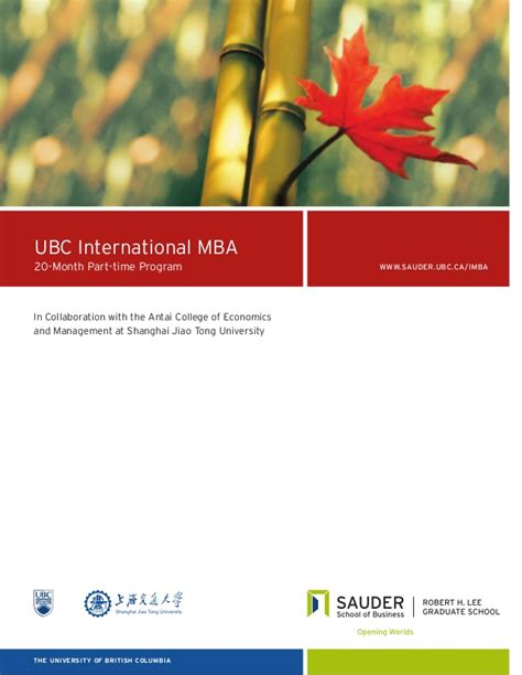 Part Time Columbia Mba Program by International Mba Brochure