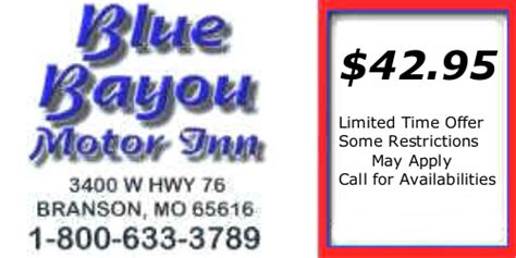 printable restaurant coupons for branson mo branson missouri blue bayou motor inn