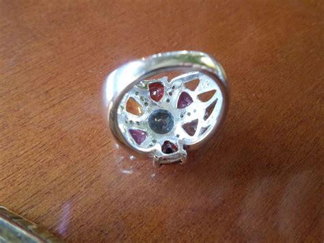 Sl52 Topaz Amethyst Garnet Citrine 925 Silver Ring Gold Plate sterling silver 925 ring set with swiss blue topaz