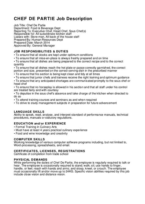 cover letter chef de rang sle cv for chef de partie chef de partie description