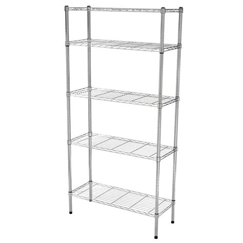 wire shelves home depot hdx 5 shelf 72 in h x 36 in w x 14 in d wire unit in chrome grey shop your way