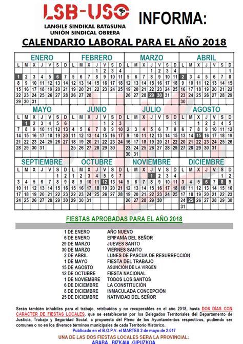 Calendario Laboral Madrid 2018 Boe Calendario Laboral Lsb Uso Langile Sindikal Batasuna