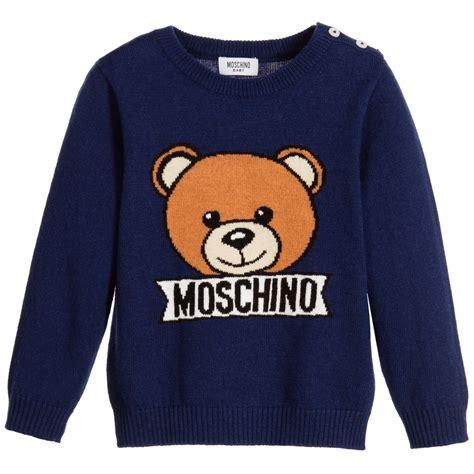 Moschino Teddy Sweater moschino baby baby boys blue knitted teddy sweater childrensalon