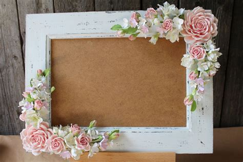 Wedding frame for wedding photo. Polymer clay flower