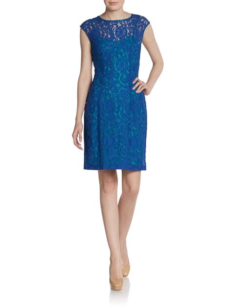 47429 Dress Hodie Avenue saks fifth avenue black label lace illusion dress in blue