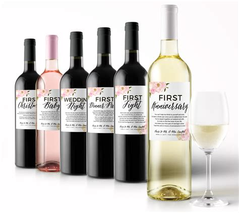 Wedding Gift Year Of Firsts by Wedding Milestone Wine Labels A Year Of Firsts Floral