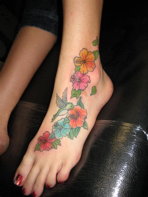 corner tattoo foot flower tattoos for women