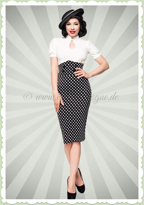 Herrenmode 60er Jahren 1139 by Belsira 50er Jahre Retro Polka Pencil Rock High Waist