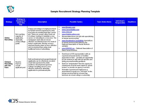 recruiting plan template recruitment strategies template beneficialholdings info