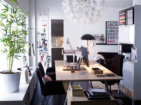 scandinavian white home office space interior design