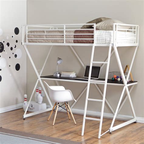 Furniture Tall Metal Loft Bunk Bed With Desk And Corner Metal Loft Bunk Bed With Desk