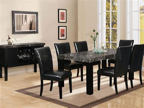 black granite top dining table set 7 black marble dining table black dining room set