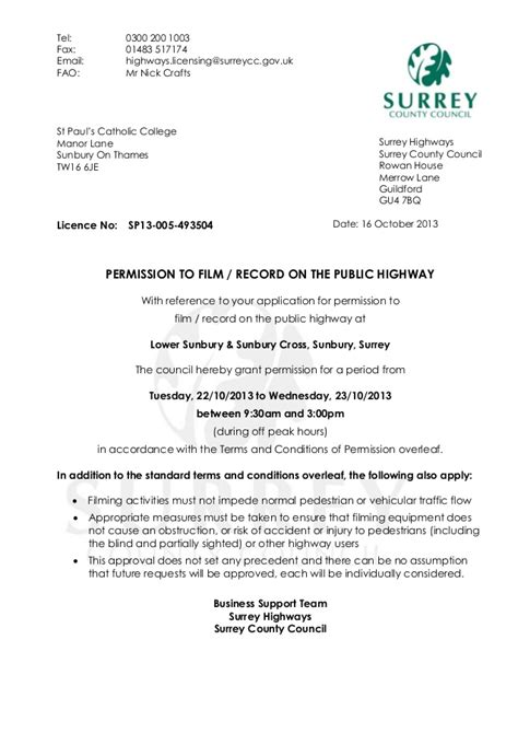 Permission Letter Uk Surrey County Council Letter Of Permission To