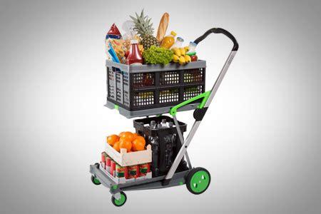 Compact Sit Shopping Cart by Clax 2 Shelf Folding Compact Platform Truck